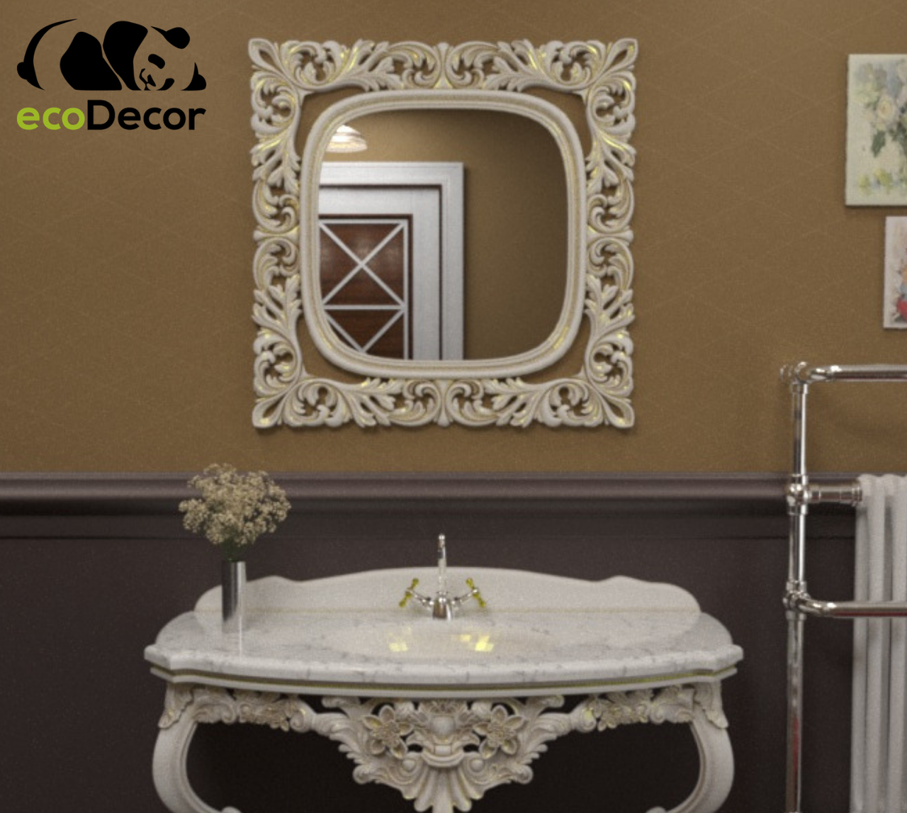 Зеркало в ванную Adana в белой с золотой патиной раме