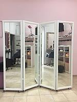 Зеркальная ширма с белоснежной рамкой на 4 секции.