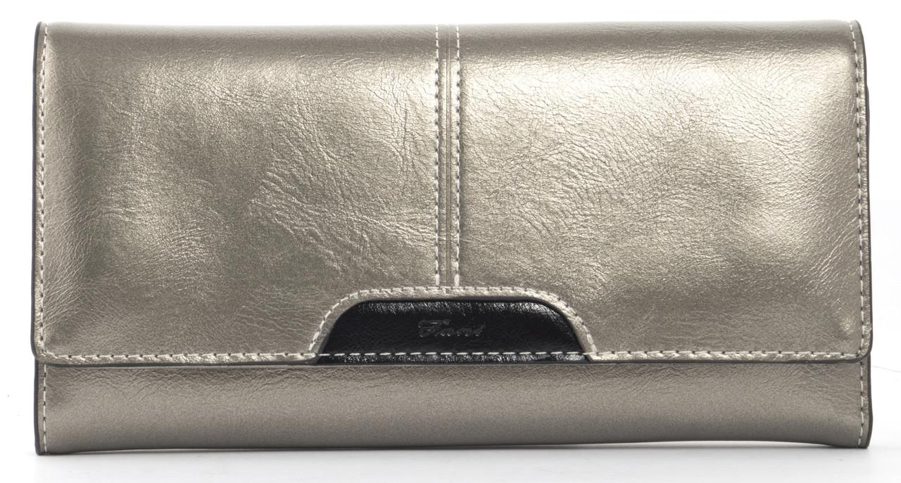 Стильныйженский прочный кошелек из качественнойэко кожи FANE art. W9201 серебристый