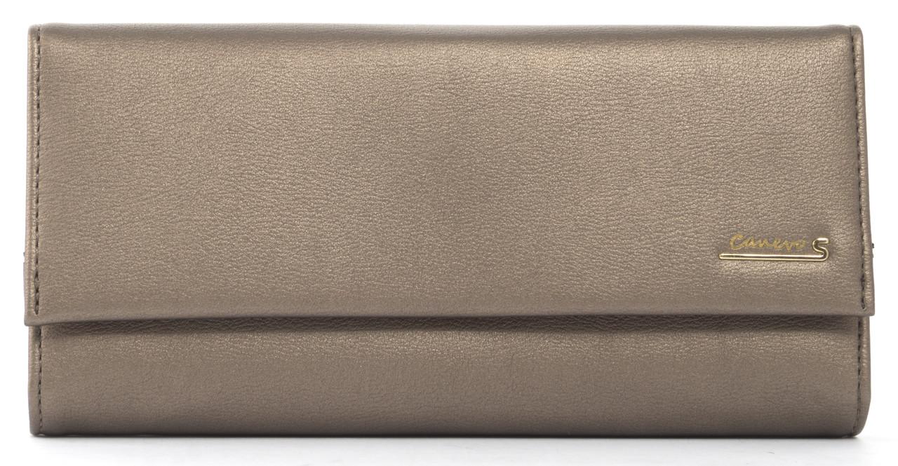 Стильныйженский прочный кошелек из качественнойэко кожи Canevo art. J2820 бронзовый