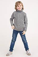Вязаный свитер под горло с узором коса | Серый