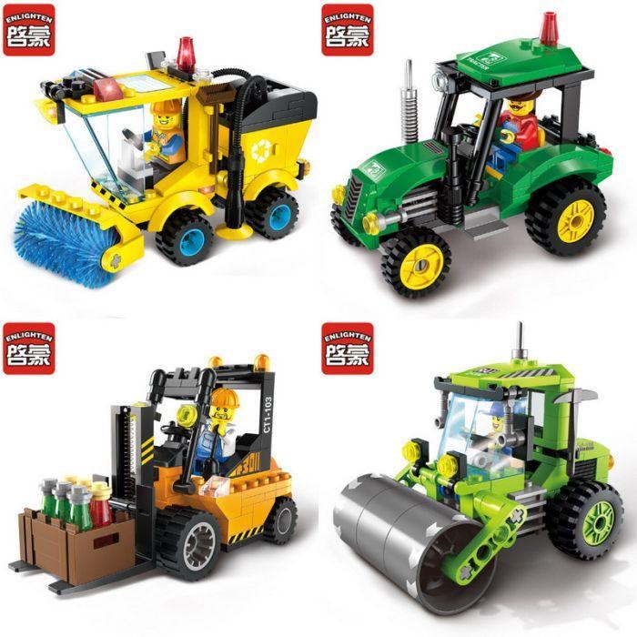Конструктор brick 1101-1104 каток,Машина для уборки lego лего city