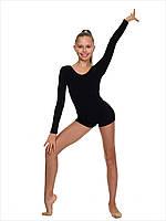 Полукомбинезон длиный рукав -шорты для гимнастики и акробатики. Купальник длинный рукав-шорты