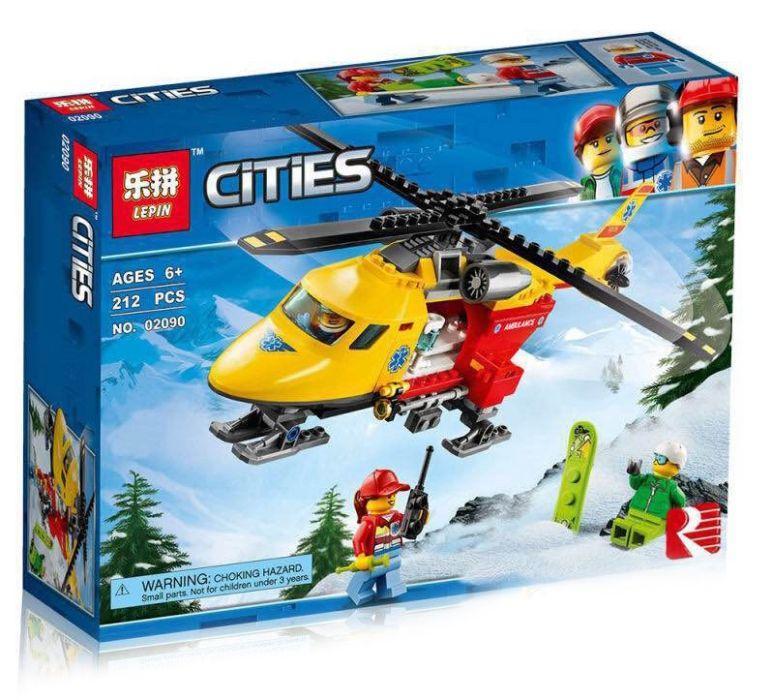Lepin 02090 Вертолёт скорой помощи Lego city 60179 Лего