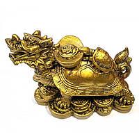 "Черепаха-дракон каменная крошка ""бронза"" (11х7,5х6,5см) ( 32037)"