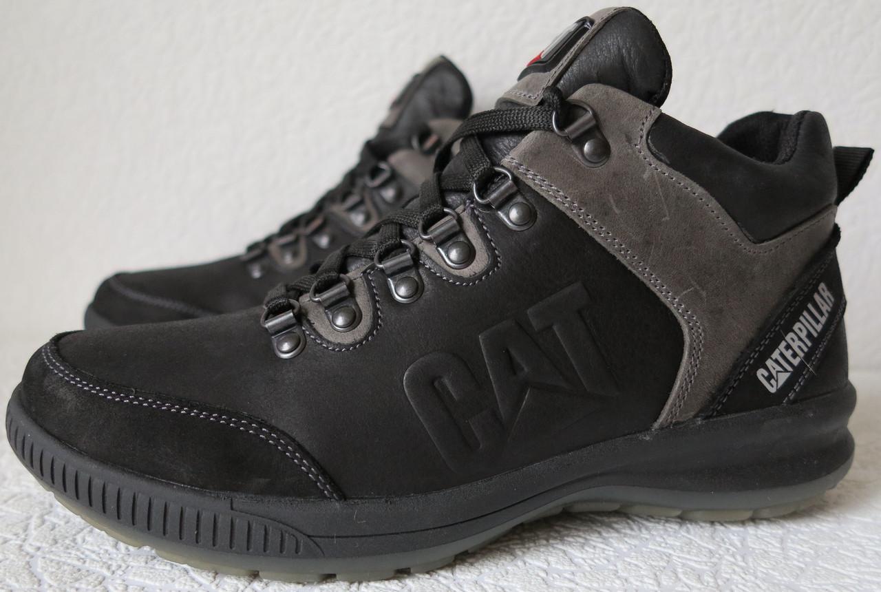 d161c01f697298 Зимові чоловічі черевики з натуральної шкіри Caterpillar, натуральне хутро,  чорні в стилі Катерпіллар -