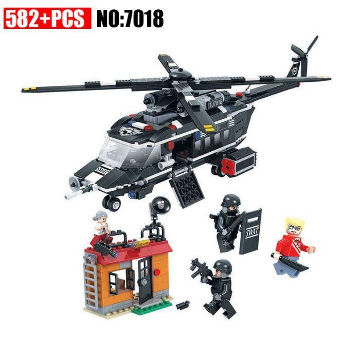Конструктор winner 7018 полицейский вертолет лего city lego 60046