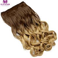Волосы на заколках накладные, русый ,волосы омбре волнистые, тресс