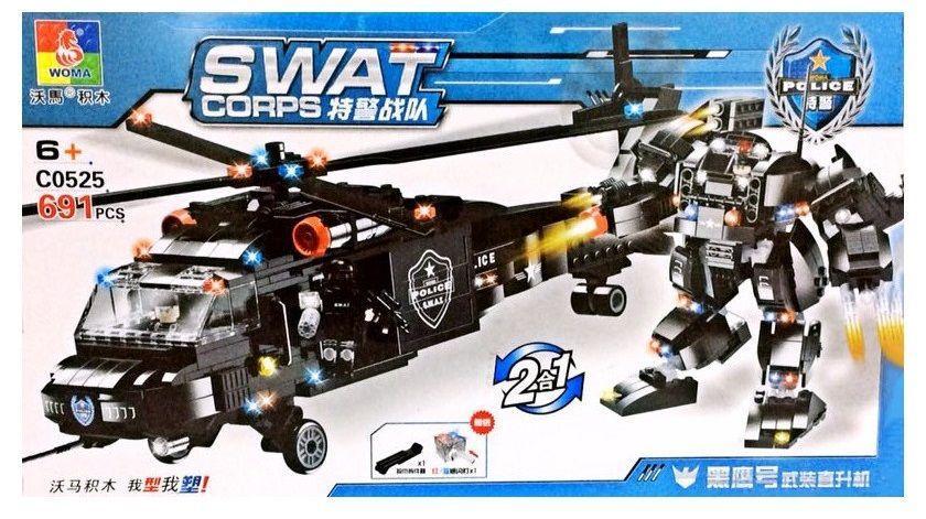 """Конструктор """"Полицейский автомобиль"""" Woma с0525 Lego лего военные swat"""