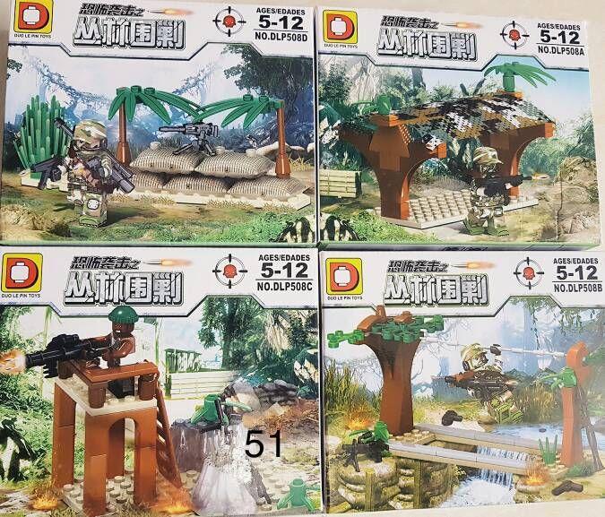 Фигурки военных и бандитов в джунглях swat спецназовцы армия Лего Lego