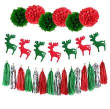 Гирлянда для нового года - (набор - 1 гирлянда из оленей, 6 помпонов - 20см, 15 бумажных кистей - 35см)