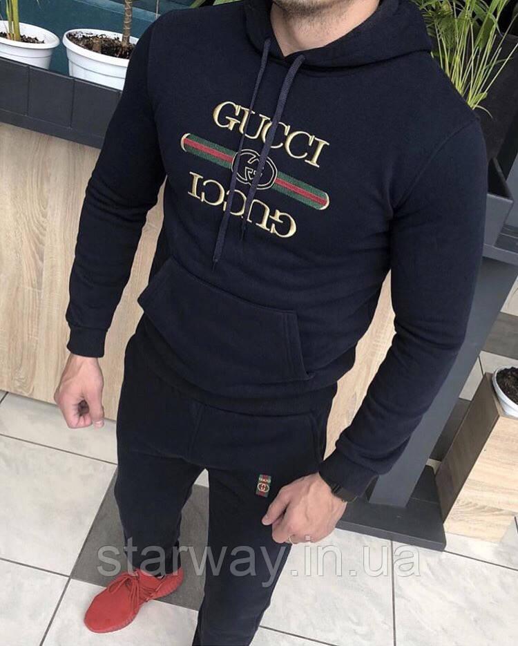 Спортивный чёрный костюм с принтом Gucci x Gucci с капюшоном