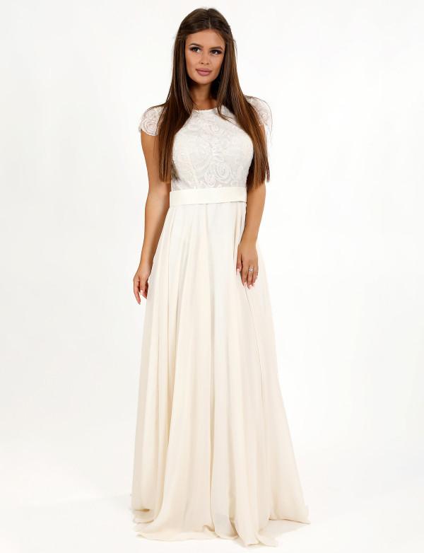 Вечернее платье на свадьбу макси юбка клеш короткий рукав шифоновое с пайетками