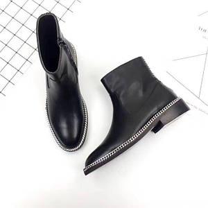 Женские ботинки Lanvin (Ланвин) из натуральной кожи черные