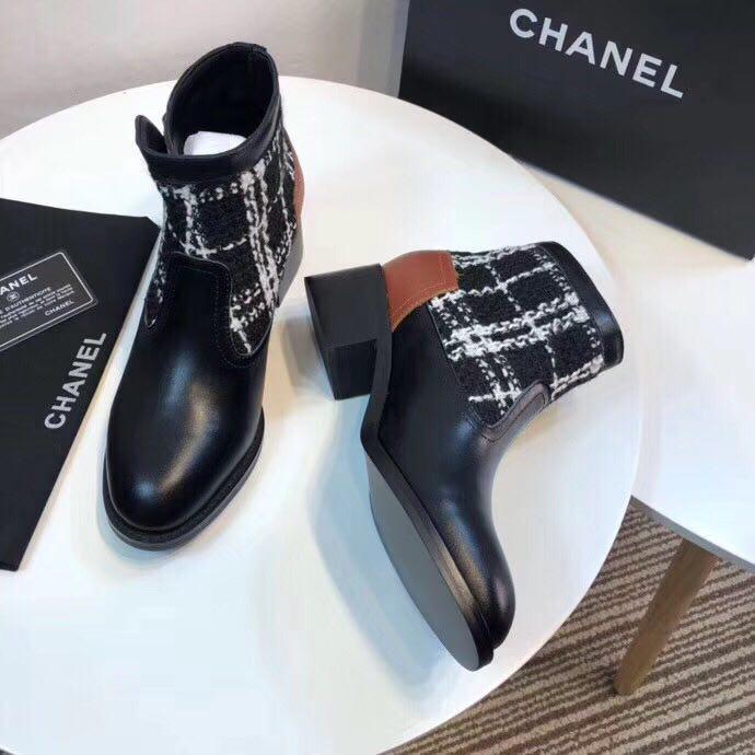 6697c0170898 Элитные женские ботинки Chanel из натуральной кожи и ткани - Интернет  магазин ILike в Кривом Роге