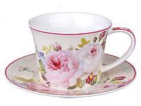 Чашка с блюдцем, чайная пара Пион 220 мл 924-369, фото 1