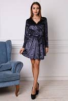 Красивое молодежное платье из велюра. Размеры: 42,44,46