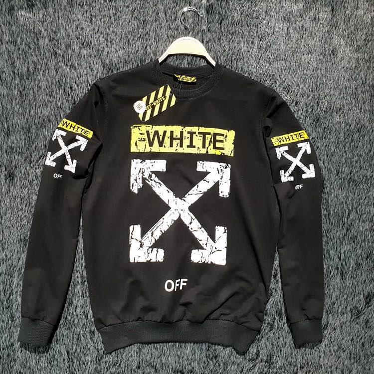 Свитшот  off-white с потертостями черный