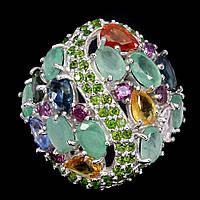 Серебряное кольцо с природными камнями мира