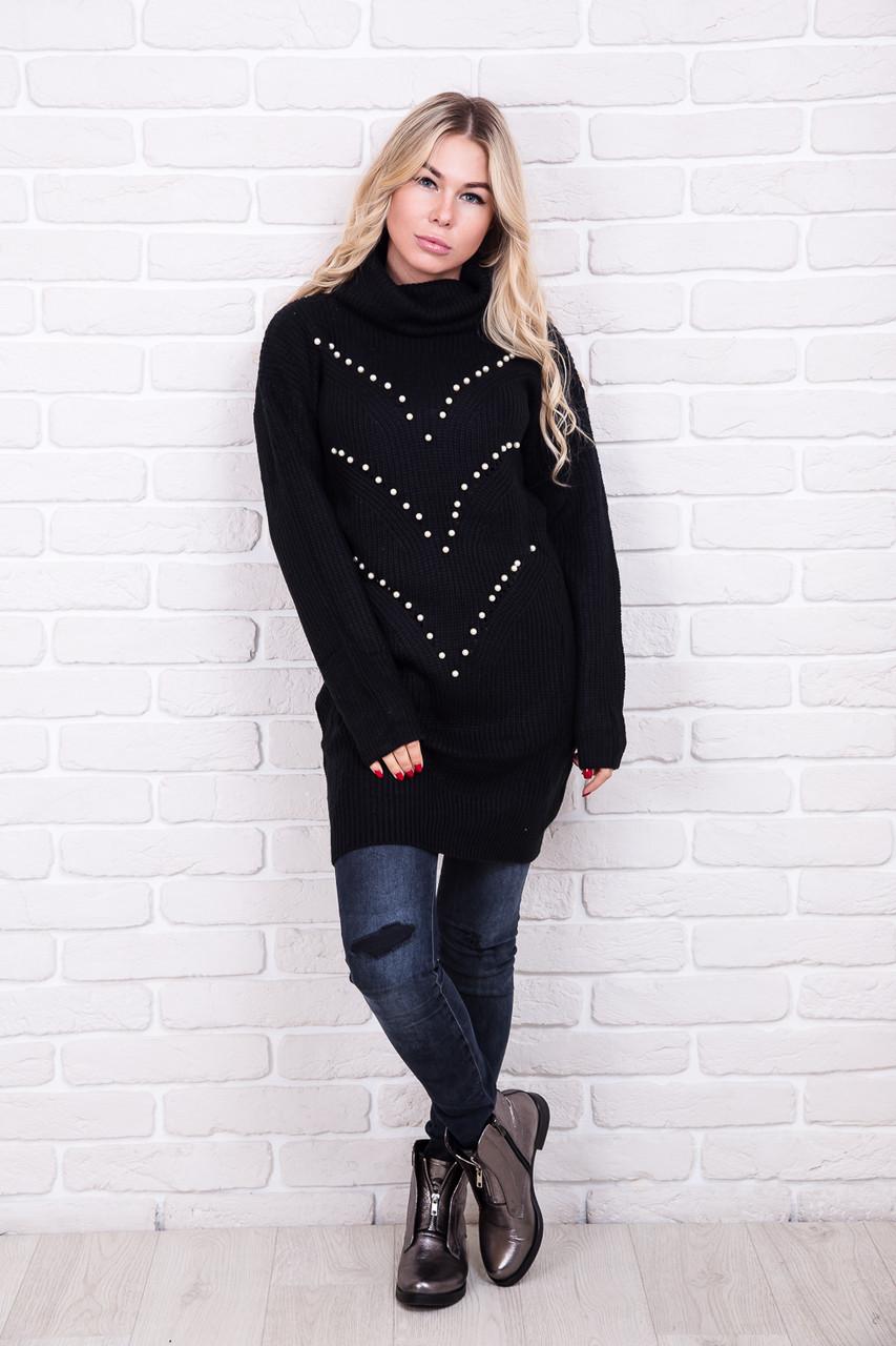 753910c84b6 Теплая туника с воротником-хомутом NsP Fashion - черный цвет