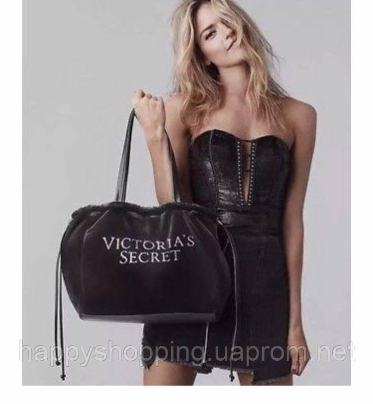 Женская вельветовая черная сумка Victoria's Secret, фото 1