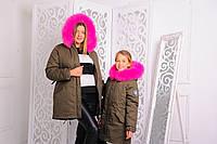 Парка куртка женская зима Линда-мама хаки 42, 44, 46р искусственный мех кроль розовий