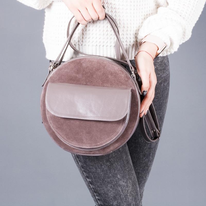 68b47f8b7d5e Круглая модная женская сумка из натуральной кожи и замши в любом цвете.