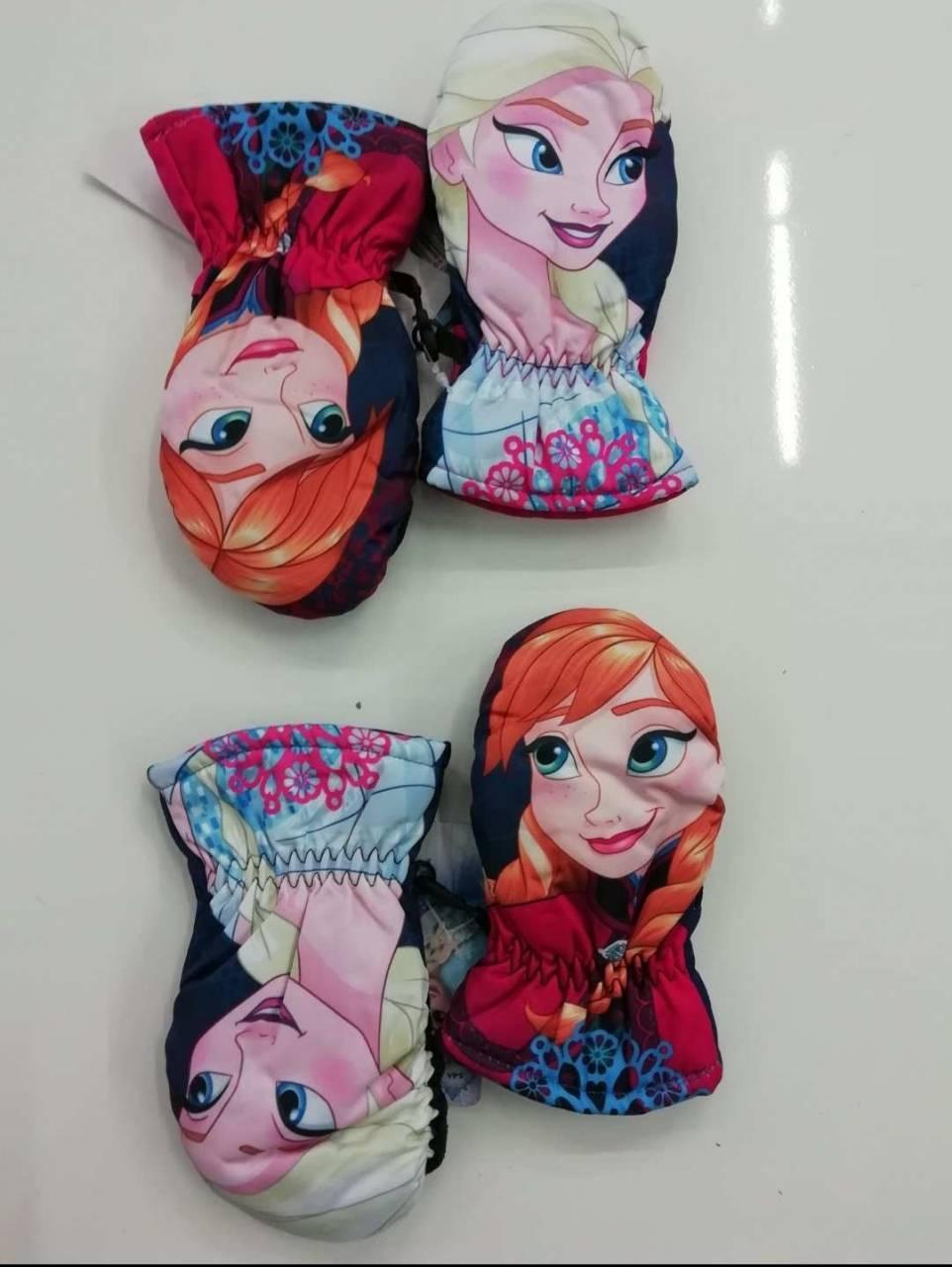 Варежки балоневые Disney для девочек оптом, размеры 3-6 лет, арт. FR-G-GLOWES-80