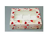 Коробка для 6-ти кексов 250*170*80 (с окошком) с принтом письмо