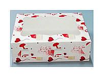 Коробка для пирожного 250*170*80 (с окошком) принт письмо