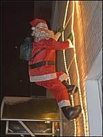 Хит! Светящаяся новогодняя фигурка Санта Клауса 90 см на лестнице