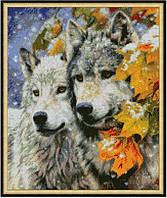 """Схема для вышивки бисером 38х32см """"Пара волков 3"""""""