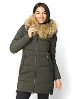 """Куртка женская ТД """"Lims"""" с мехом енота на капюшоне, 85 см длина на молнии"""