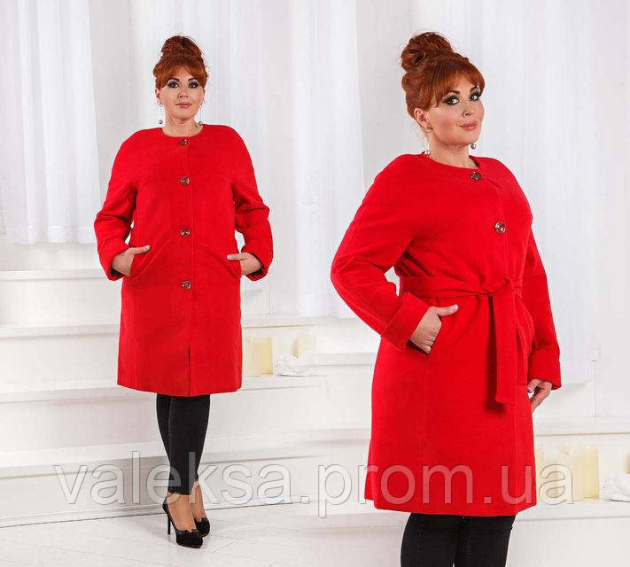 Стильное женское пальто на синтепоне до больших размеров 467