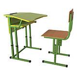 Школьная парта и ученический стул для НУШ с регулировкой высоты, комплект мебели, фото 2
