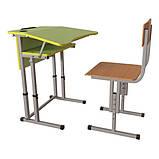 Школьная парта и ученический стул для НУШ с регулировкой высоты, комплект мебели, фото 3