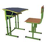 Школьная парта и ученический стул для НУШ с регулировкой высоты, комплект мебели, фото 4