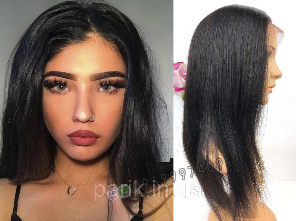 Парик женский с имитацией кожи волос. (натуральные чёрные  волосы)