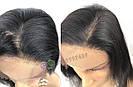 Черный парик из натуральных волос, 52 см. средней длины, фото 6