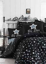 Постельное белье Eponj Home ранфорс WhiteStar Siyah черный евро размер