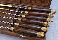 Шампуры Трофеи комплект шампуров с деревянными ручками в футляр коричневый кожзам ручная работа 6 шт