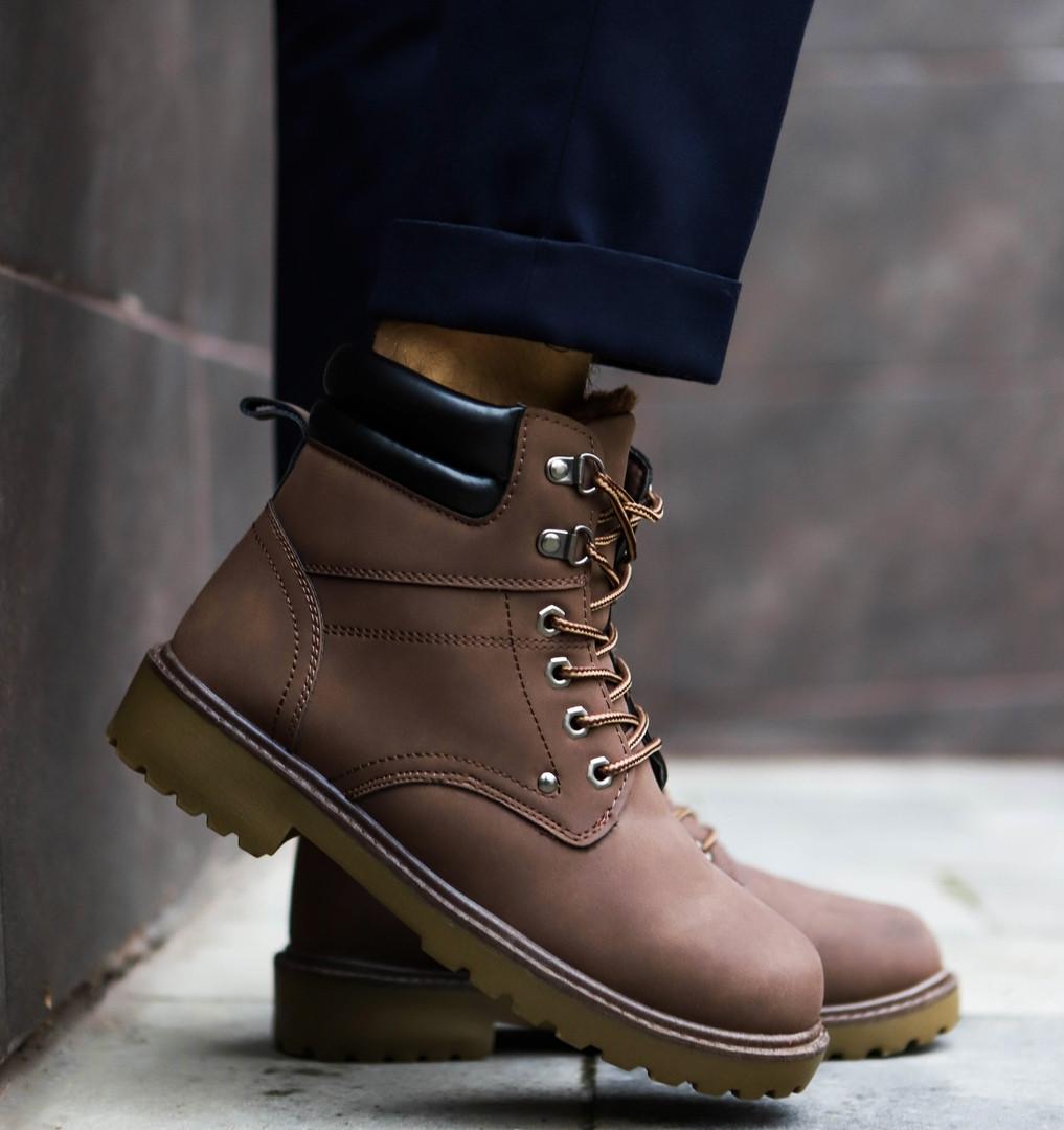 Мужские зимние кроссовки тимб кейдж коричневые топ реплика
