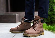 Мужские зимние кроссовки тимб кейдж коричневые топ реплика, фото 3