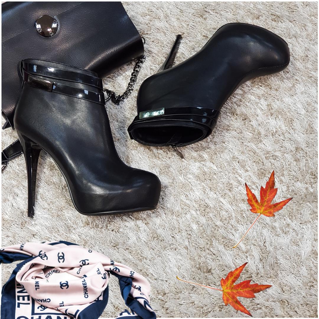 Ботинки женские демисезонные весна-осень на каблуке искусственная кожа черные