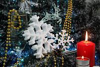 Снежинка из пенопласта маленькая 9 см Толщ 1,8см от 10шт