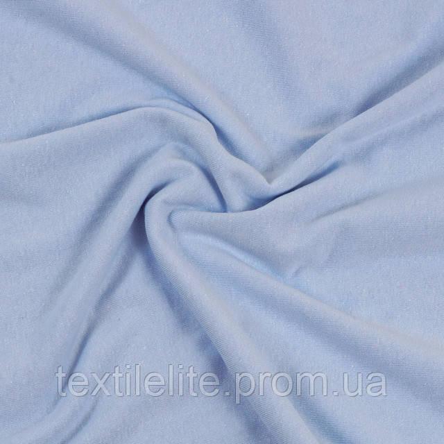 Кулирка светло голубого цвета оптом в рулонах со склада в Харькове, хлопок 100 %