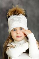 """Зимняя шапка для девочки с меховым помпоном """"Старла""""."""