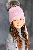 """Зимняя шапка для девочки с меховым помпоном """"Кристи""""."""