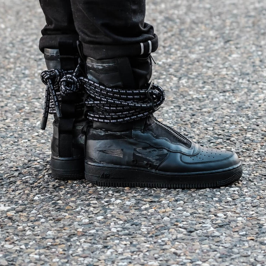 "Кроссовки Nike SF Air Force 1 Special Field Hi ""Black/Dark"" (Черные)"