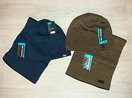 Подростковая зимняя шапка и снуд на мальчика(на флисе)